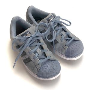 Kids Adidas unisex blue suede shoes
